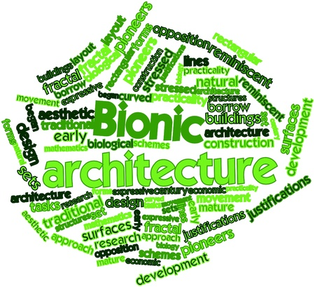 bionic: Abstract word cloud for Bionic architecture with related tags and terms Stock Photo