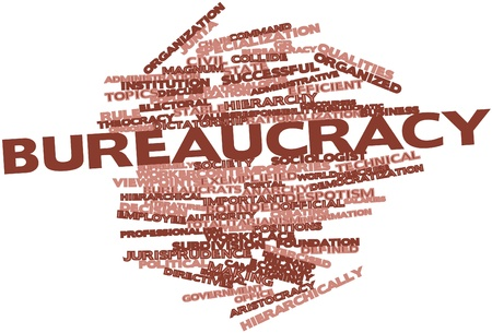 Abstract word cloud for Bureaucracy with related tags and terms Stock Photo