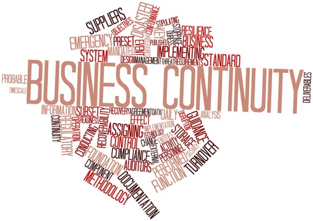 disaster preparedness: Abstract word cloud for Business continuity with related tags and terms