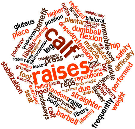 flexed: Abstract word cloud for Calf raises with related tags and terms Stock Photo