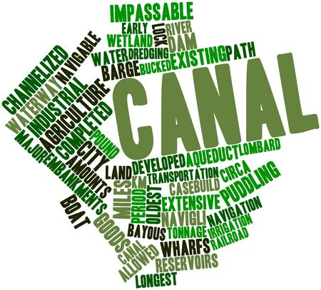 longest: Abstract word cloud for Canal with related tags and terms Stock Photo