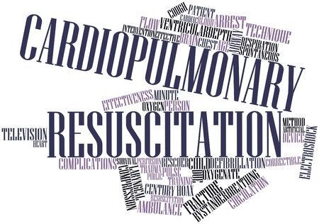 intervention: Abstract word cloud for Cardiopulmonary resuscitation with related tags and terms Stock Photo