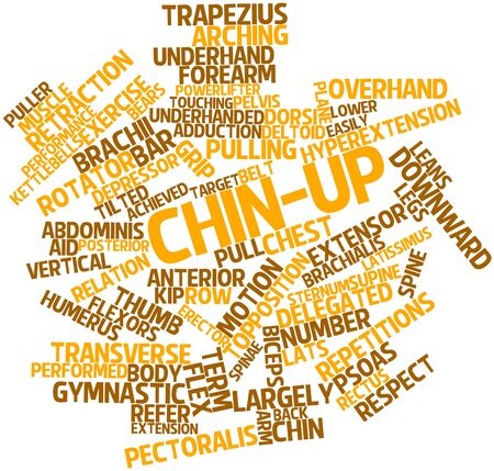 dorsi: Abstract word cloud for Chin-up with related tags and terms Stock Photo
