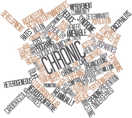determinants: Abstract word cloud for Chronic with related tags and terms Stock Photo