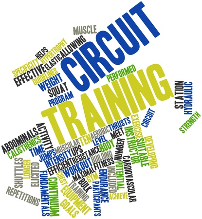 muscle training: Word cloud astratto per il Circuit training con tag correlati e termini