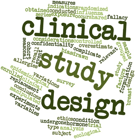 population: Abstract word cloud for Clinical study design with related tags and terms Stock Photo