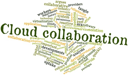 Abstract word cloud for Cloud collaboration with related tags and terms Stock Photo - 16719636