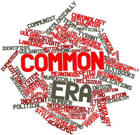 identifiers: Abstract word cloud for Common Era with related tags and terms Stock Photo