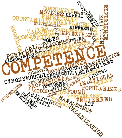 seminal: Abstract word cloud for Competence with related tags and terms Stock Photo