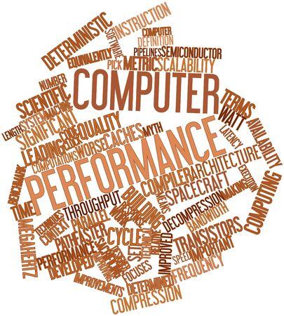outweighs: Nube palabra abstracta para un rendimiento del ordenador con las etiquetas y t�rminos relacionados Foto de archivo