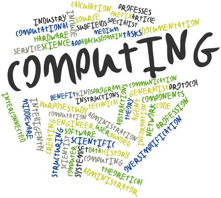 Abstract word cloud for Computing with related tags and terms Banco de Imagens - 16719892