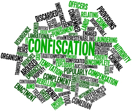 popularly: Abstract word cloud for Confiscation with related tags and terms Stock Photo
