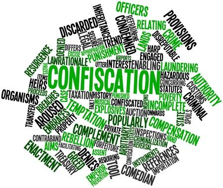 arbitrario: Nube palabra abstracta para Confiscación con etiquetas y términos relacionados