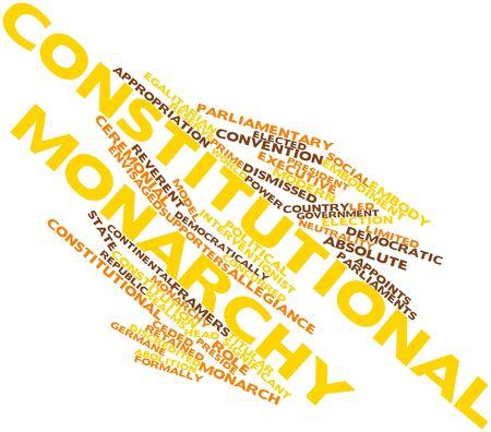 retained: Nube palabra abstracta para la monarquía constitucional con las etiquetas y términos relacionados