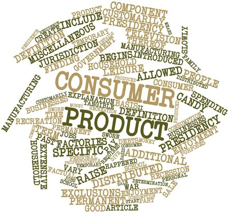 extensive: Abstract word cloud for Consumer product with related tags and terms Stock Photo