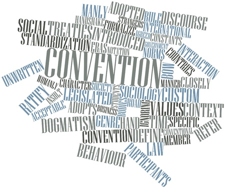 Abstract word cloud for Convention with related tags and terms photo