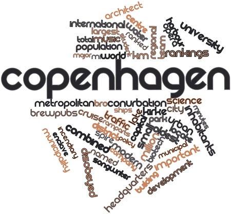 Abstract word cloud for Copenhagen with related tags and terms