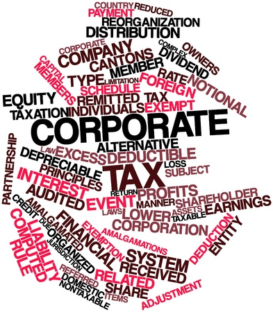 Abstract word cloud for Corporate tax with related tags and terms