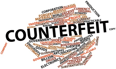 counterfeit: Abstract word cloud for Counterfeit with related tags and terms