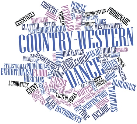 minuet: Abstract word cloud for Country-western dance with related tags and terms