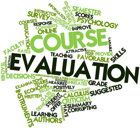 explanatory: Abstract word cloud for Course evaluation with related tags and terms Stock Photo