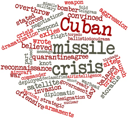 armaments: Abstract word cloud for Cuban missile crisis with related tags and terms Stock Photo