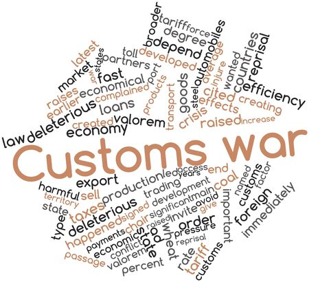 named person: Abstract word cloud for Customs war with related tags and terms Stock Photo