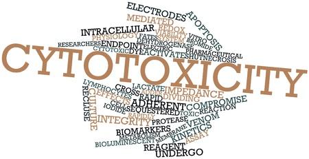 encogimiento: Nube palabra abstracta para citotoxicidad con las etiquetas y t�rminos relacionados