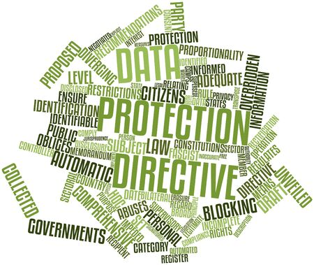 identifiable: Abstract word cloud for Data Protection Directive with related tags and terms