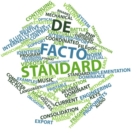 facto: Abstract word cloud for De facto standard with related tags and terms Stock Photo