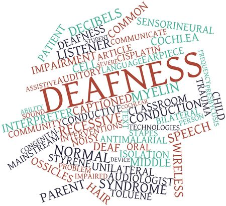 disulfide: Abstract word cloud for Deafness with related tags and terms