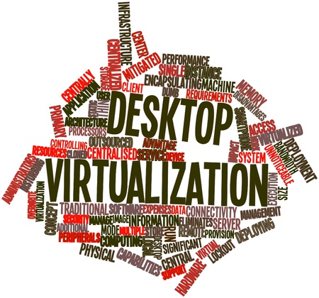 data center: Abstract word cloud for Desktop virtualization with related tags and terms