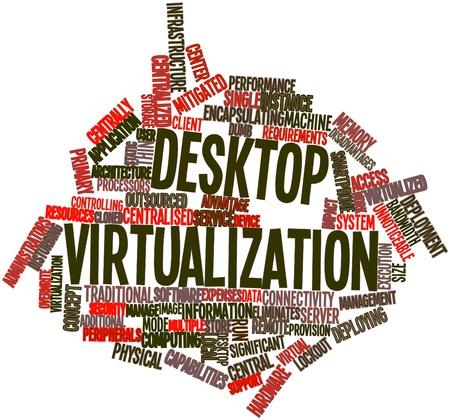virtualizacion: Nube palabra abstracta para la virtualizaci�n de escritorio con las etiquetas y t�rminos relacionados Foto de archivo