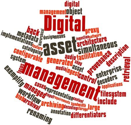 metadata: Word cloud astratto per il Digital Asset Management con tag correlati e termini