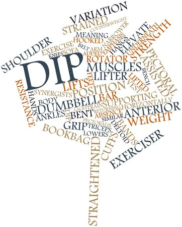 straight edge: Abstract word cloud for Dip with related tags and terms Stock Photo