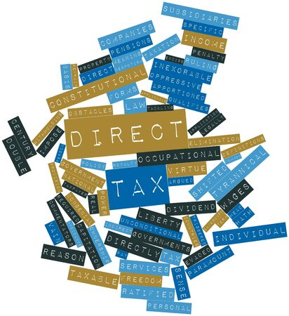 virtue: Abstract word cloud for Direct tax with related tags and terms Stock Photo