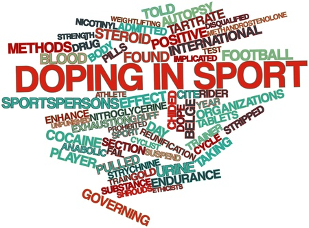 linearly: Abstract word cloud for Doping in sport with related tags and terms Stock Photo