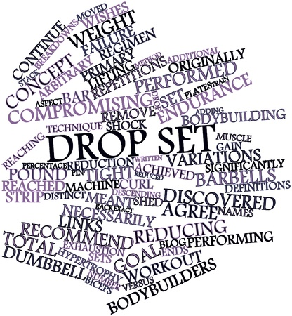 hypertrophy: Abstract word cloud for Drop set with related tags and terms