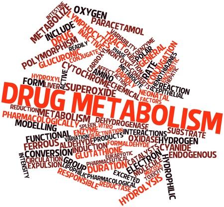 interactions: Abstract woordwolk for Drug metabolisme met gerelateerde tags en voorwaarden
