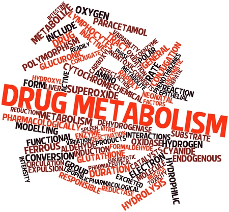 mucosa: Abstract word cloud for Drug metabolism with related tags and terms Stock Photo