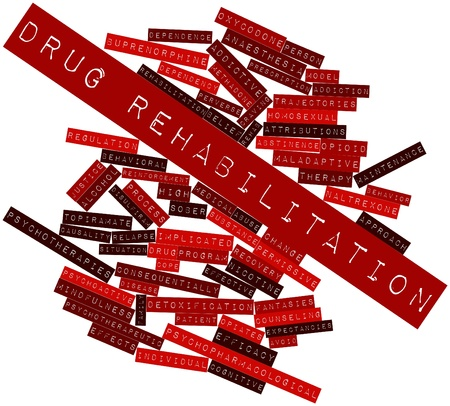 perverse: Abstract word cloud for Drug rehabilitation with related tags and terms Stock Photo