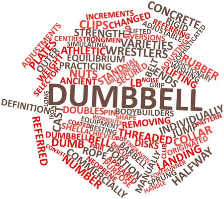 increments: Abstract word cloud for Dumbbell with related tags and terms Stock Photo