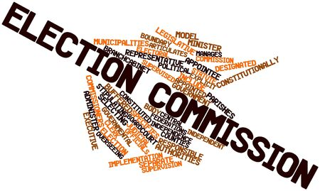 election commission: Abstract word cloud for Election commission with related tags and terms Stock Photo