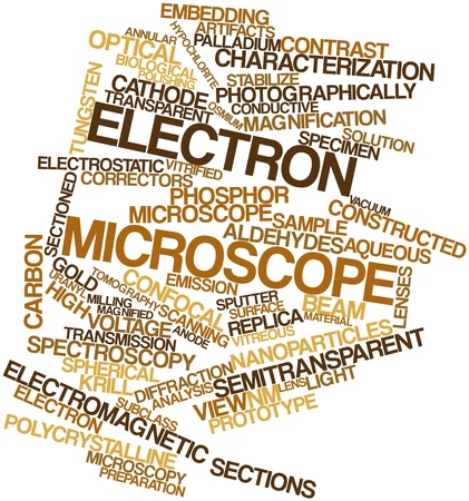 aqueous: Abstract word cloud for Electron microscope with related tags and terms Stock Photo