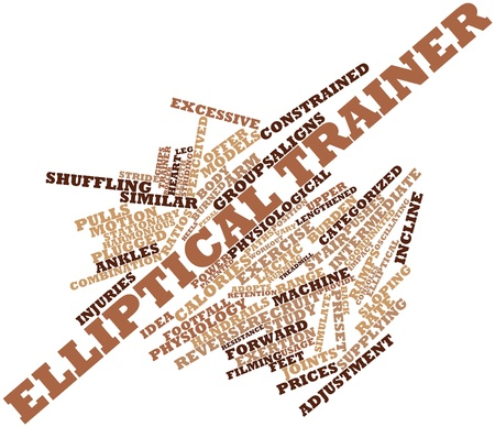 stride: Abstract word cloud for Elliptical trainer with related tags and terms Stock Photo