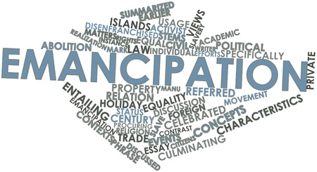 essay: Abstract word cloud for Emancipation with related tags and terms
