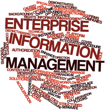 enterprise: Abstract word cloud for Enterprise information management with related tags and terms Stock Photo