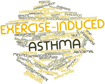 pathogenesis: Abstract word cloud for Exercise-induced asthma with related tags and terms Stock Photo