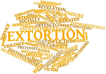 extortion: Abstract word cloud for Extortion with related tags and terms