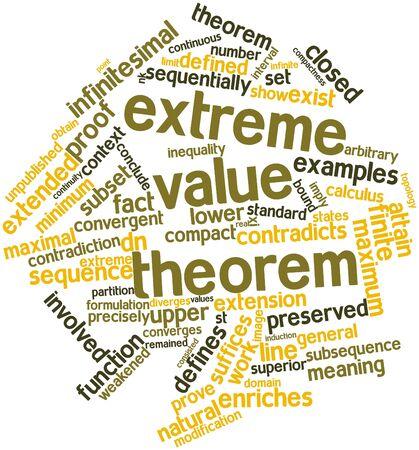 teorema: Nube palabra abstracta para teorema del valor extremo con etiquetas y t�rminos relacionados